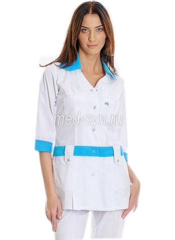 медкостюм 03279 белый с голубым