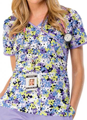медицинский топ с рисунком цветы