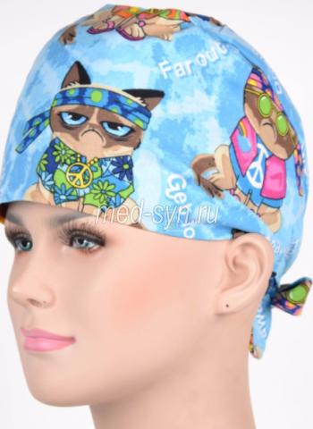 Медицинская шапочка коты